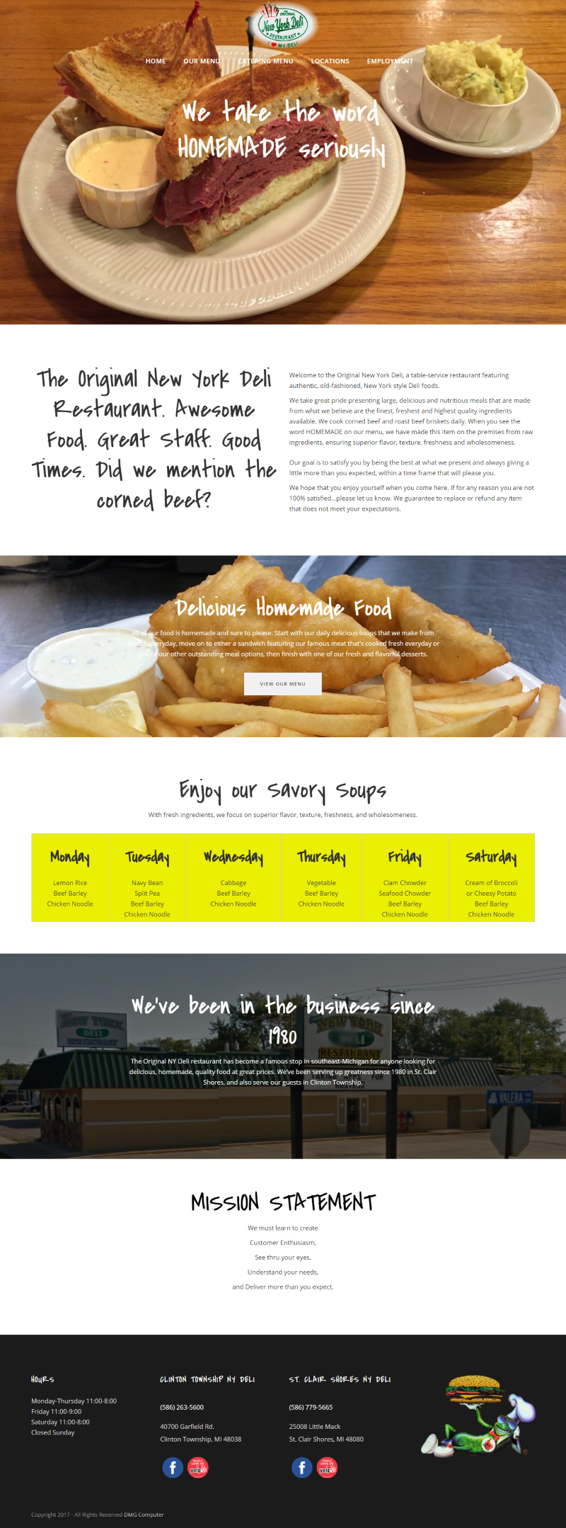 Original New York Deli Website - DMG Computer, Michigan Web Design